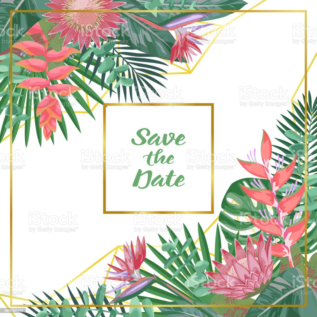 Save the Date Tropical Flower and Geometric Background royalty-free save the date tropical flower and geometric background stock illustration - download image now