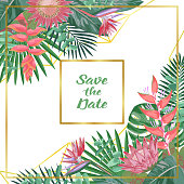 Save the Date card with tropical flowers, plants in watercolor style on geometric background. Greenery backgrop with text place for invite, greeting, birthday card, covers and posters.