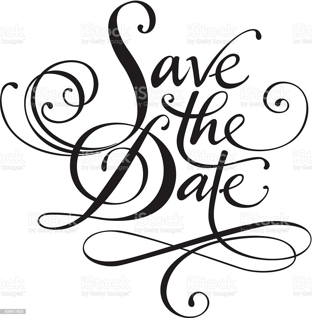 save the date stock vector art more images of black and white
