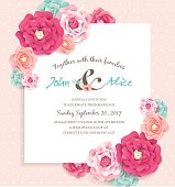 Wedding invitation card with beautiful flowers and white note paper for your text