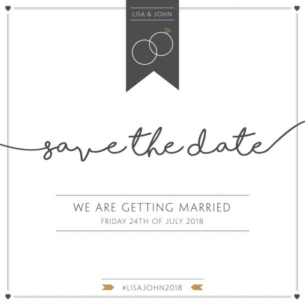 Save the date Wedding invitation in gold and grey wedding invitation stock illustrations