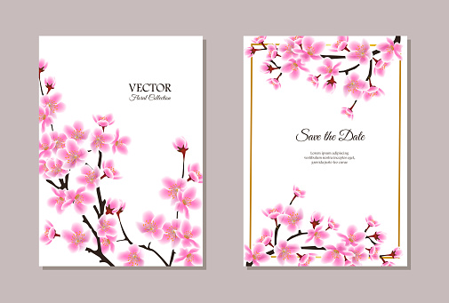Save the Date wedding card template with cherry blossom vector illustration.