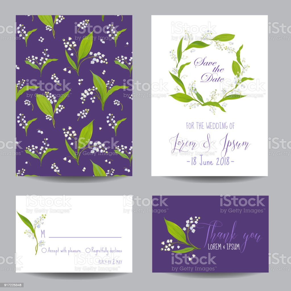 Save The Date Wedding Cards Set With Blossom Lily Flowers Birthday ...