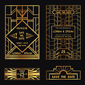 Save the Date - Wedding Invitation Card Art Deco