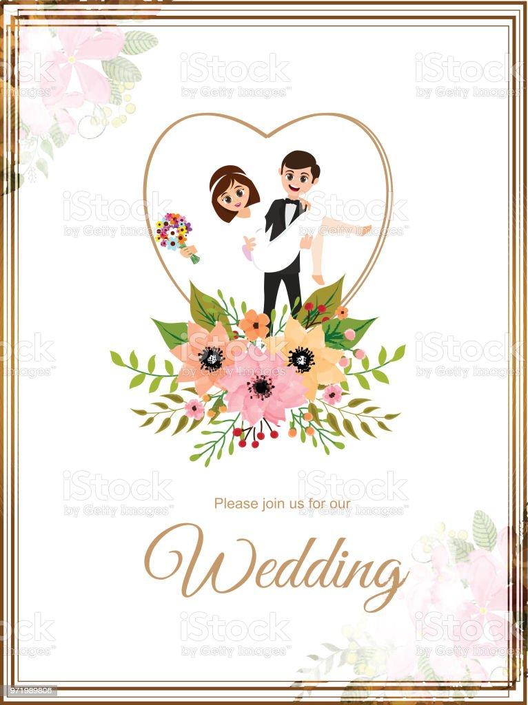 Save The Date Wedding Invitation Card Design Stock