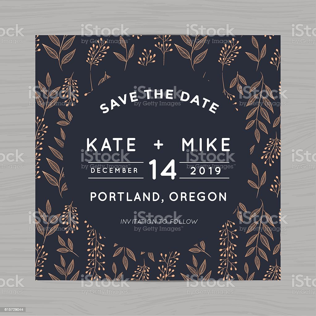 Save The Date Wedding Invitation Card Template With Flower Background Stock Illustration Download Image Now