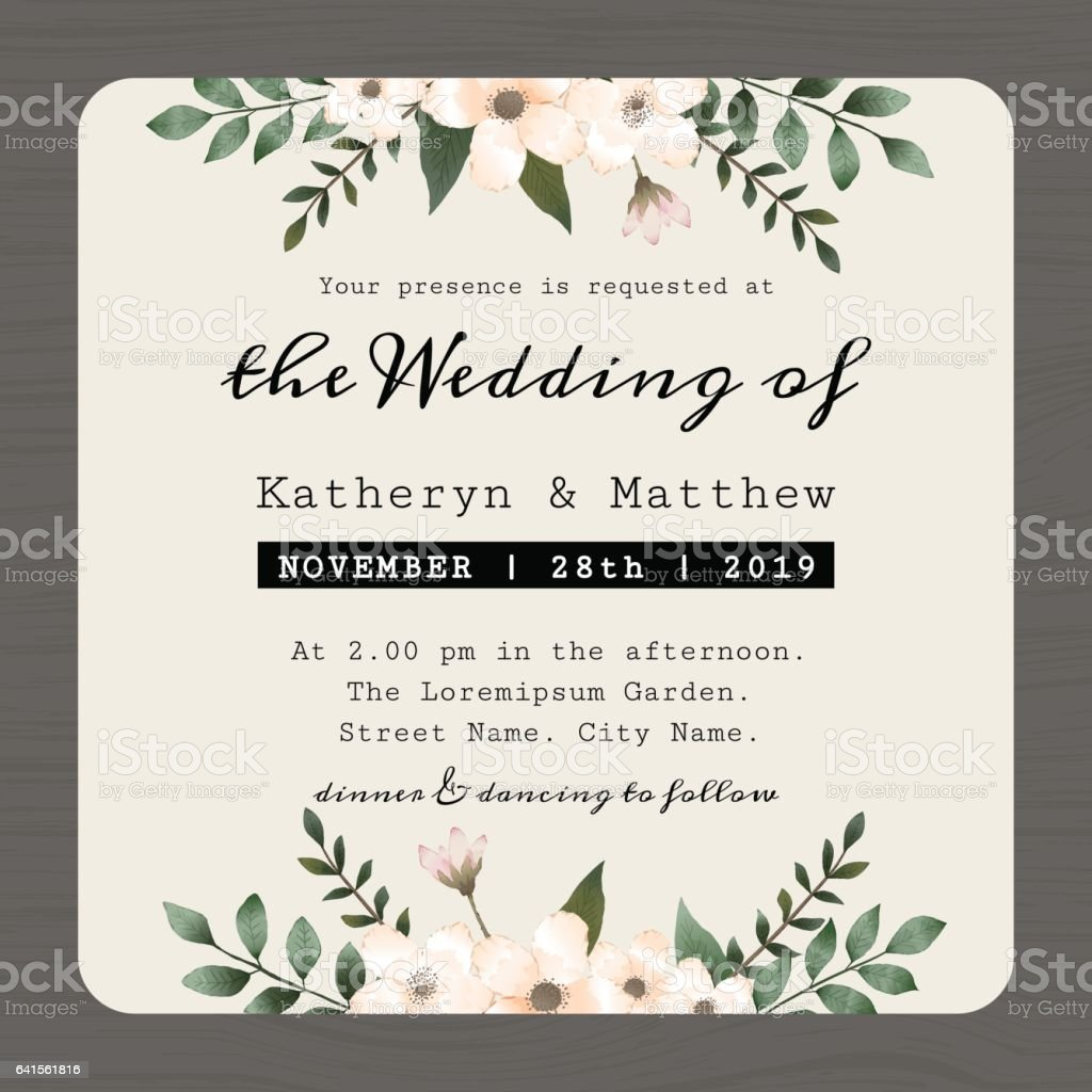 save the date wedding invitation card template with flower floral stock vector art more images. Black Bedroom Furniture Sets. Home Design Ideas