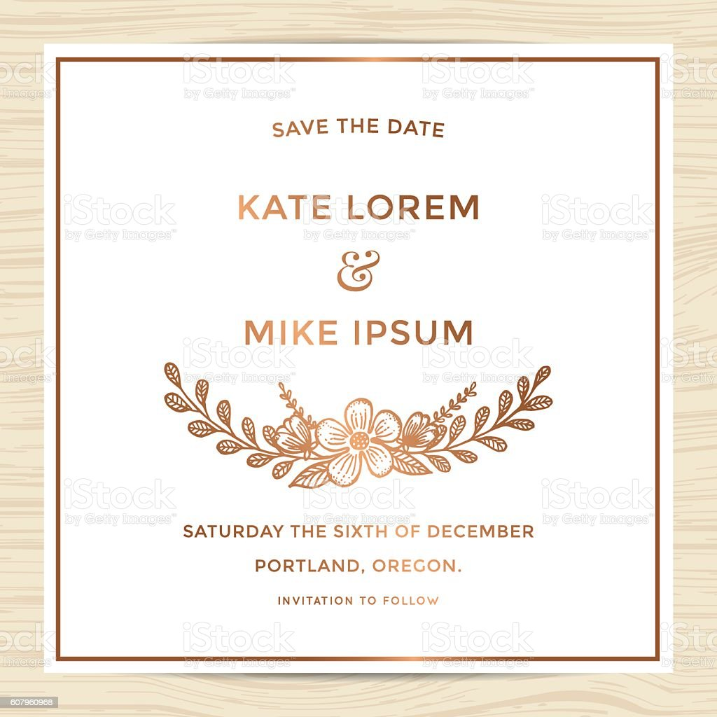 save the date wedding invitation card template with flower お祝い