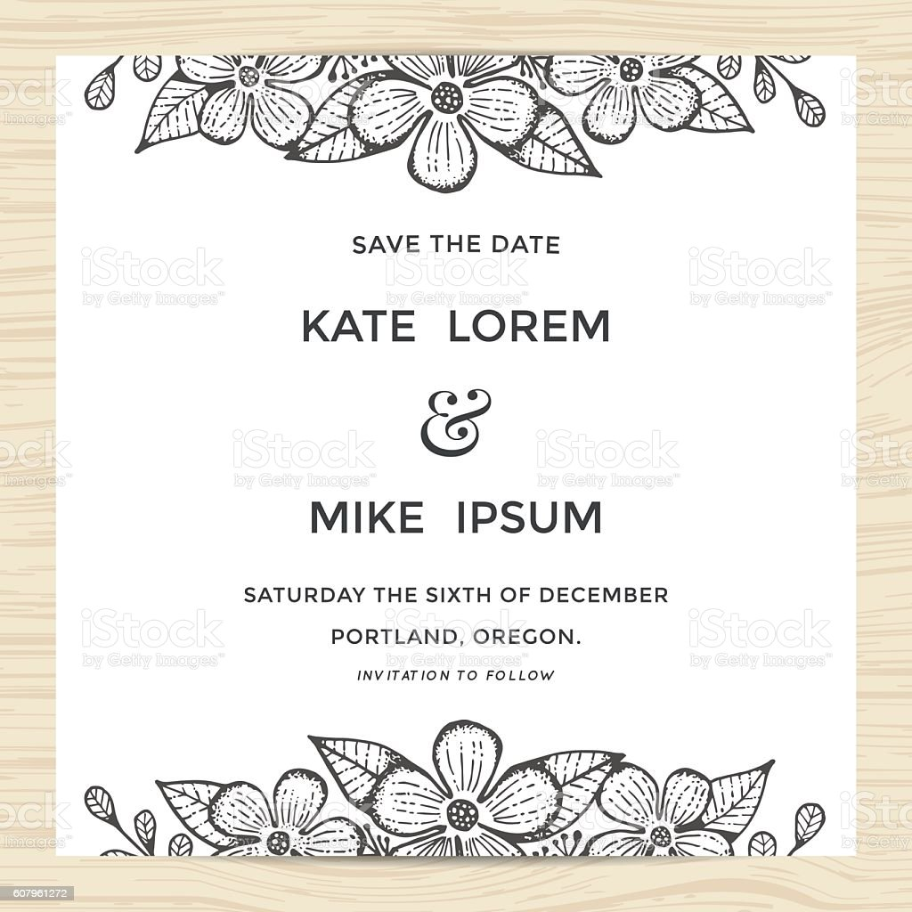 save the date wedding invitation card template with flower wreath stock vector art more images. Black Bedroom Furniture Sets. Home Design Ideas