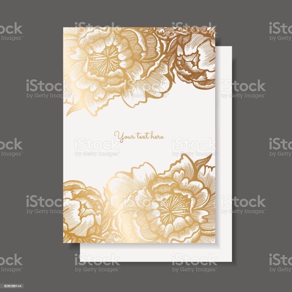 save the date wedding invitation card template with golden peonies
