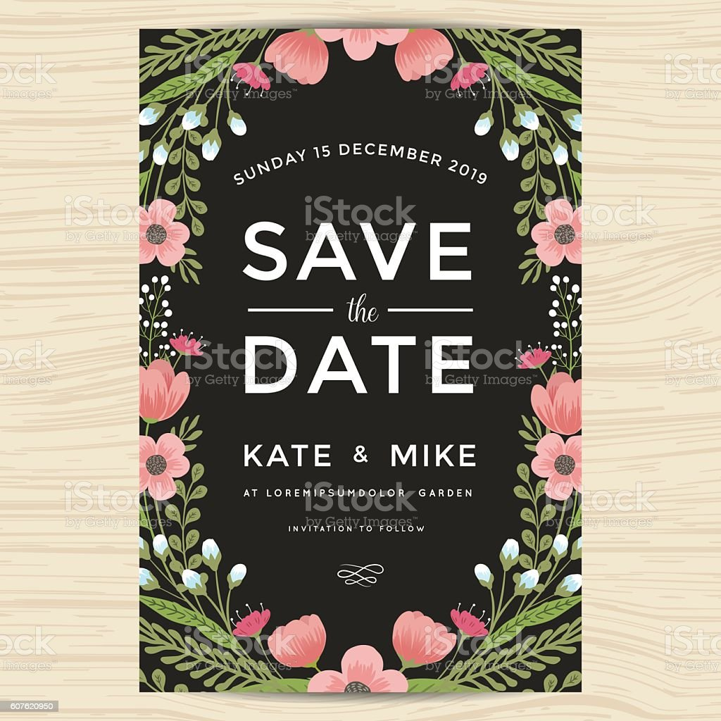 Save The Date Wedding Invitation Card Template With Wreath Flower ...
