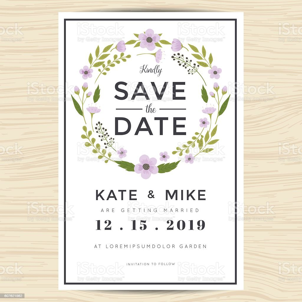save the date wedding invitation card template with wreath flower stock vector art more images. Black Bedroom Furniture Sets. Home Design Ideas