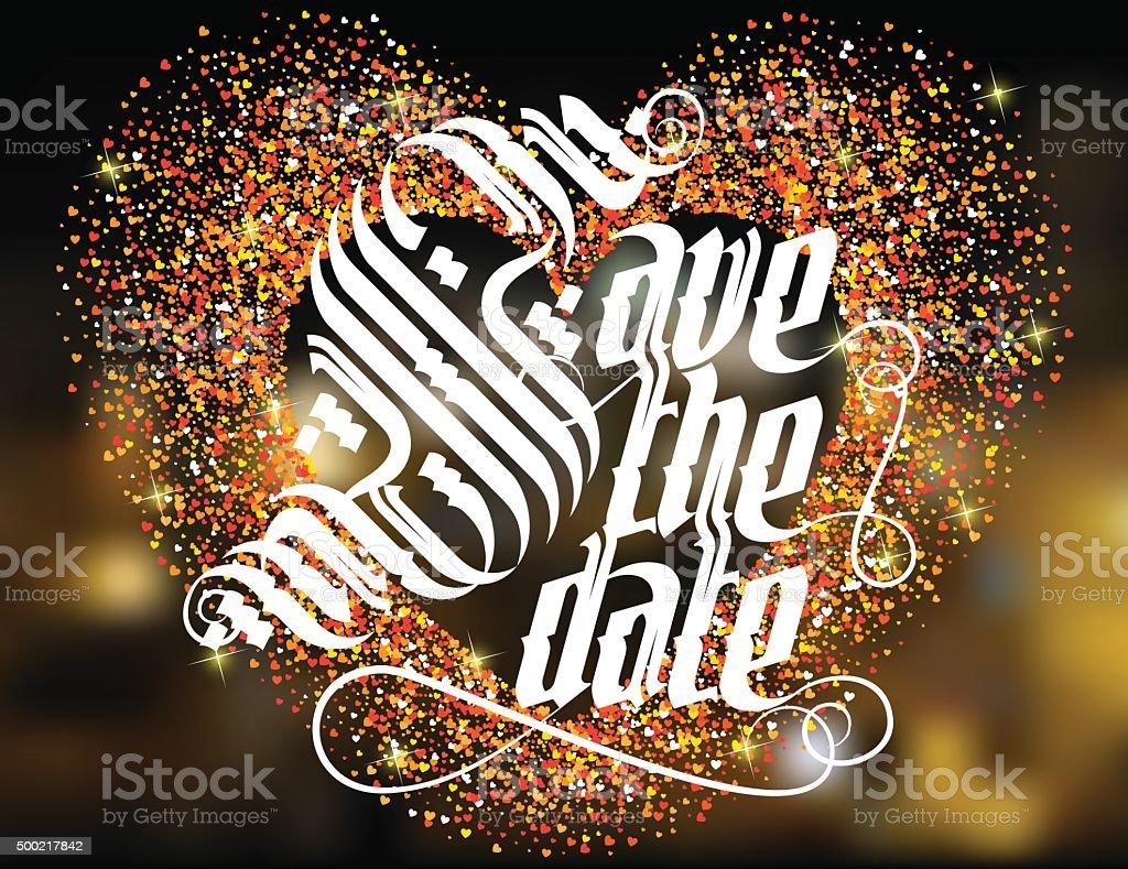 Save The Date Wedding Invitation Card Stock Vector Art
