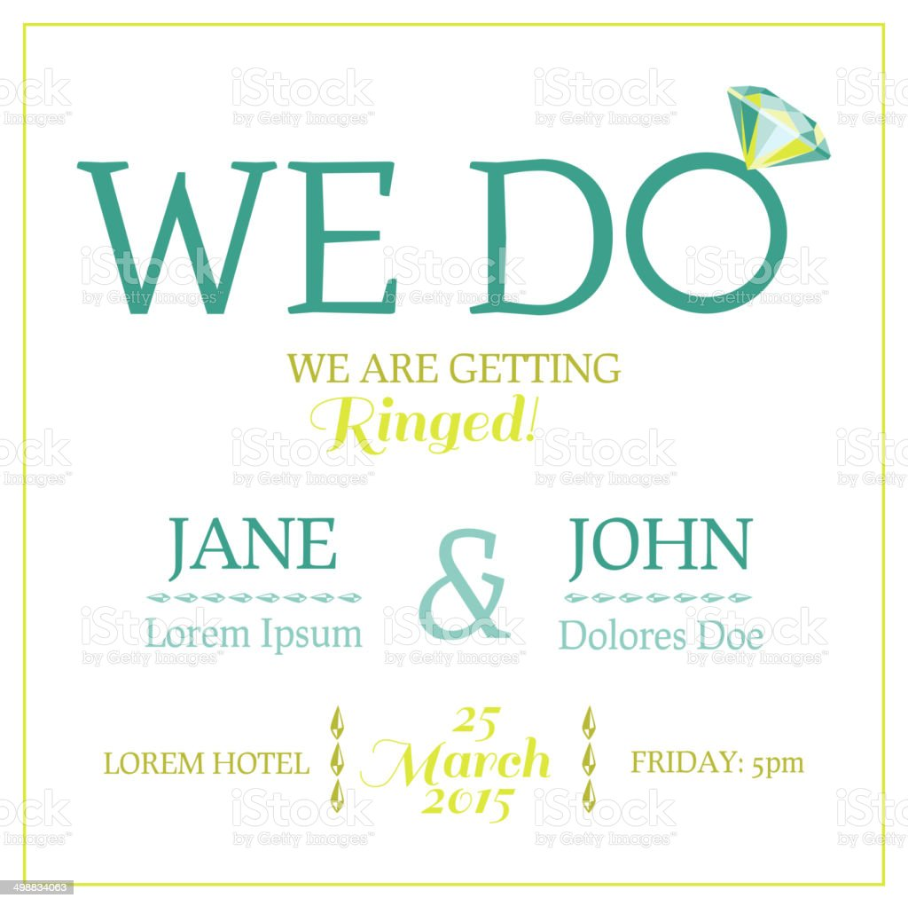 Save the date wedding invitation card with diamond ring stock vector save the date wedding invitation card with diamond ring royalty free save the date stopboris Images