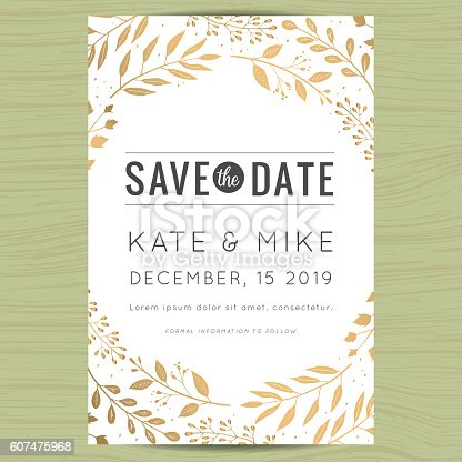 save the date wedding invitation card with flower floral background