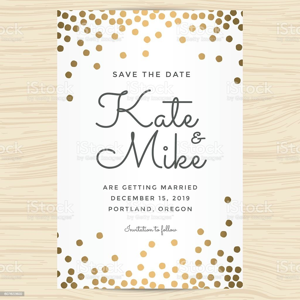Save the date, wedding invitation card with golden dots background.