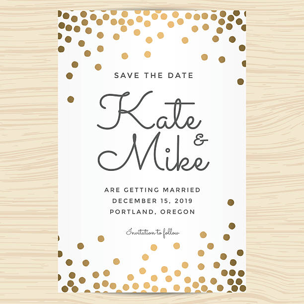 Save the date, wedding invitation card with golden dots background. - ilustración de arte vectorial