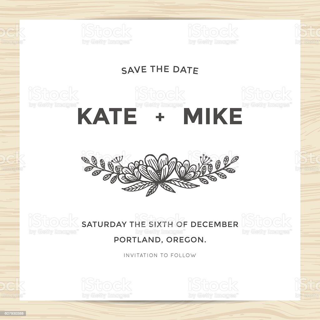 save the date wedding invitation card with hand drawn flower の
