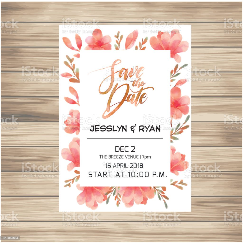 Save The Date Wedding Invitation Card With Pink Flowers Background ...