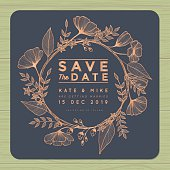 Save the date, wedding invitation card with wreath flower background.