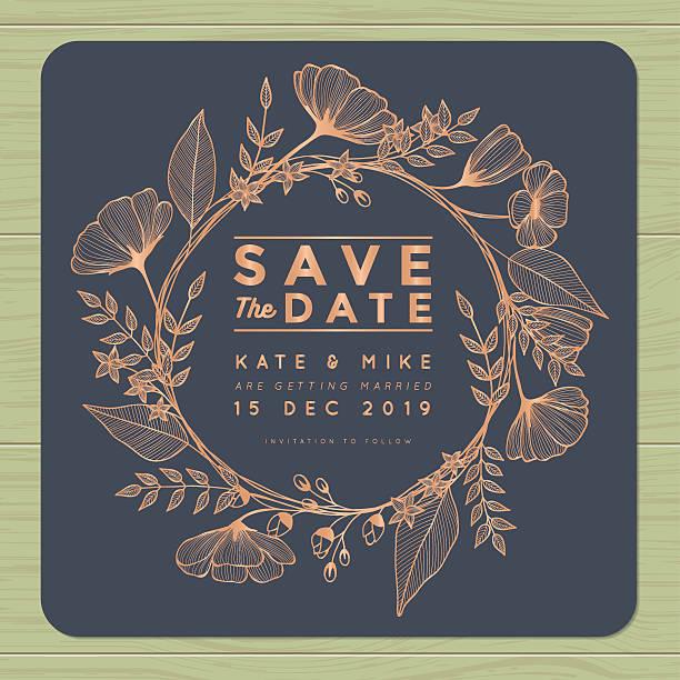 save the date, wedding invitation card with wreath flower background. - kupfer stock-grafiken, -clipart, -cartoons und -symbole