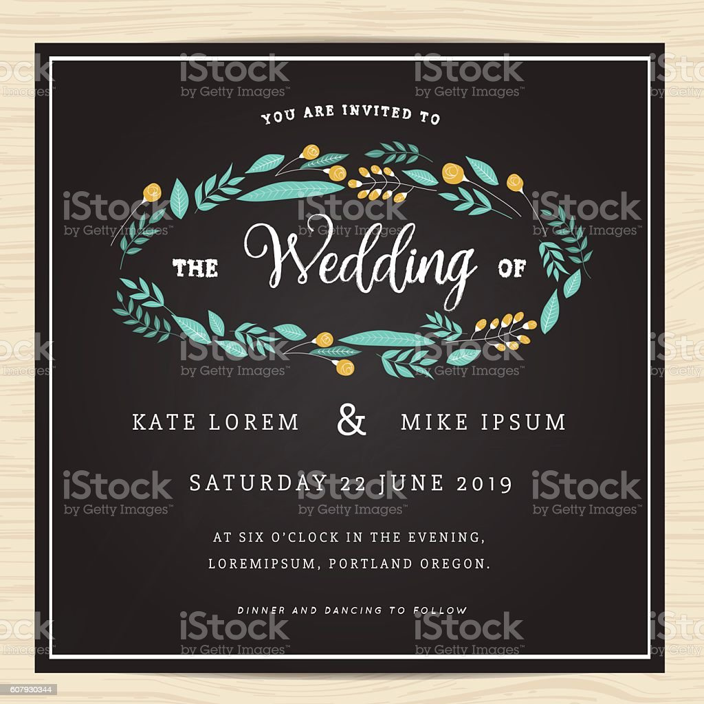 Ilustrao de save the date wedding invitation card with wreath save the date wedding invitation card with wreath flower ilustrao de save the date stopboris Choice Image