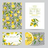 Save the Date - Wedding Invitation or Congratulation Card Set - Lemon Theme - in vector
