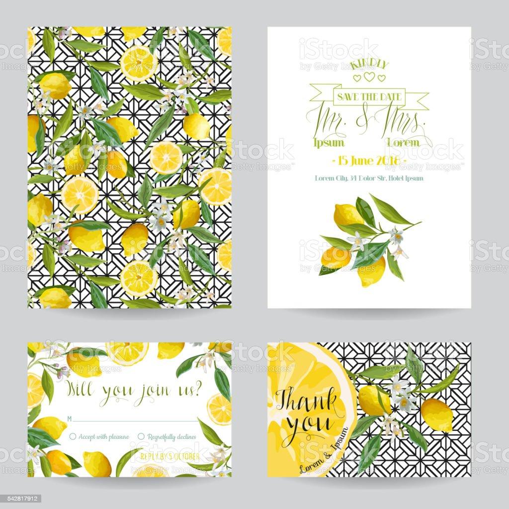 Save the Date - Wedding Invitation or Congratulation Card Set vector art illustration