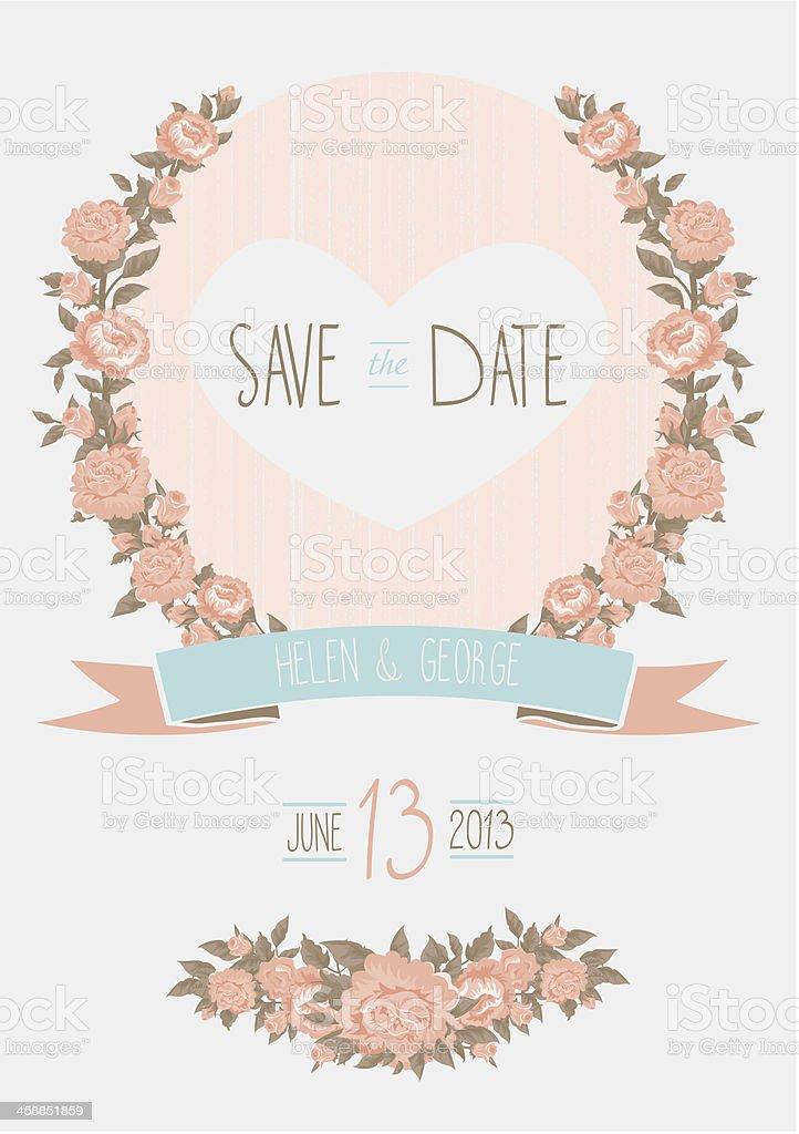 Speichern Sie Datum Hochzeit Einladung Vorlage Vektor, Il, Shabby Chic  Lizenzfreies Speichern Sie Datum