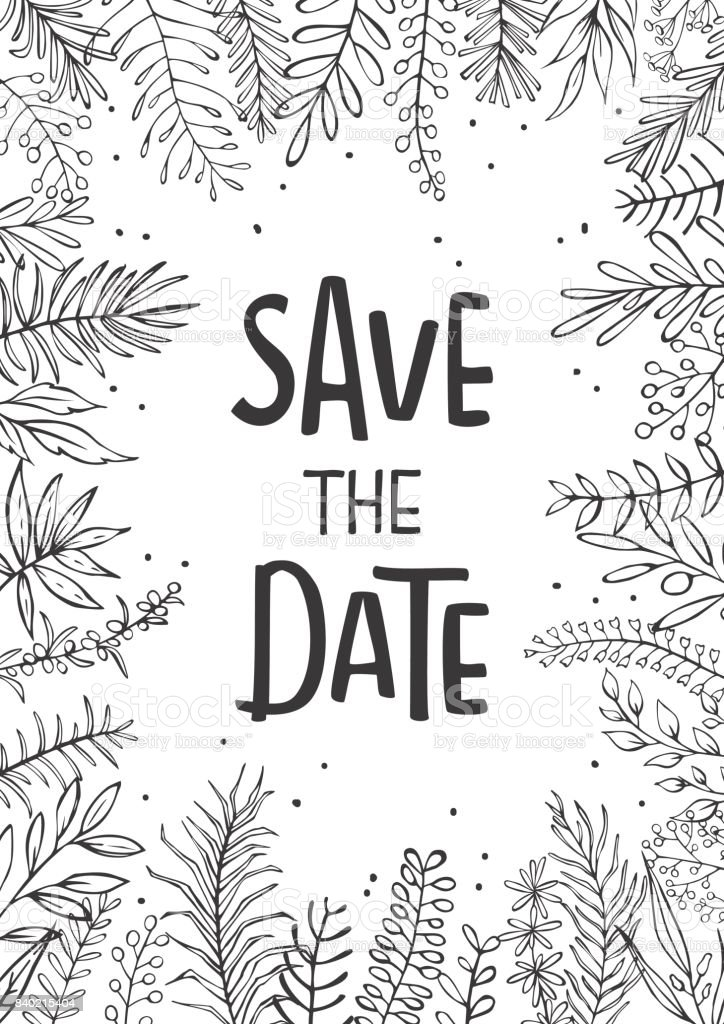 Save The Date Wedding Invitation Template Background With Hand