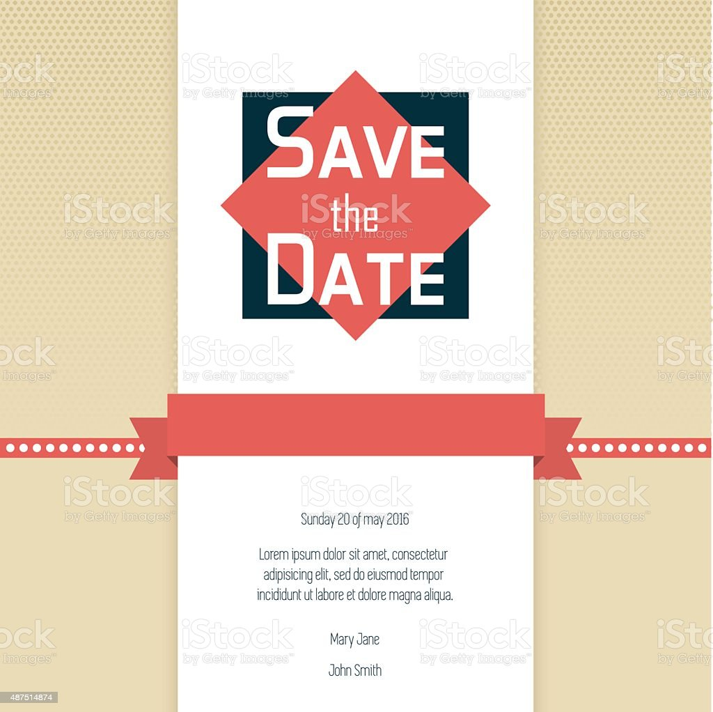 Save The Date Wedding Invitation Template stock vector art 487514874 ...