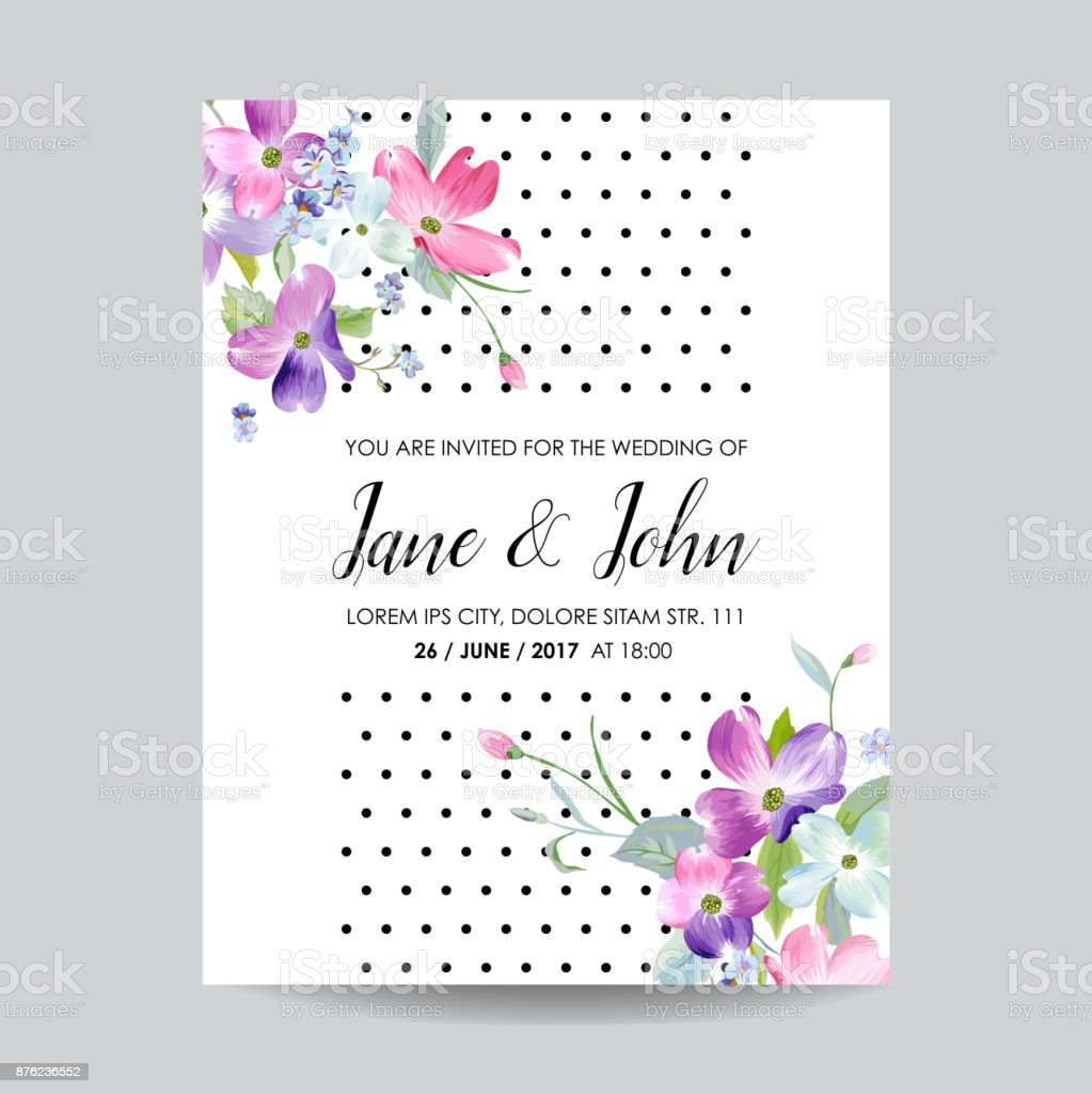 Save The Date Wedding Invitation Template With Spring Dogwood