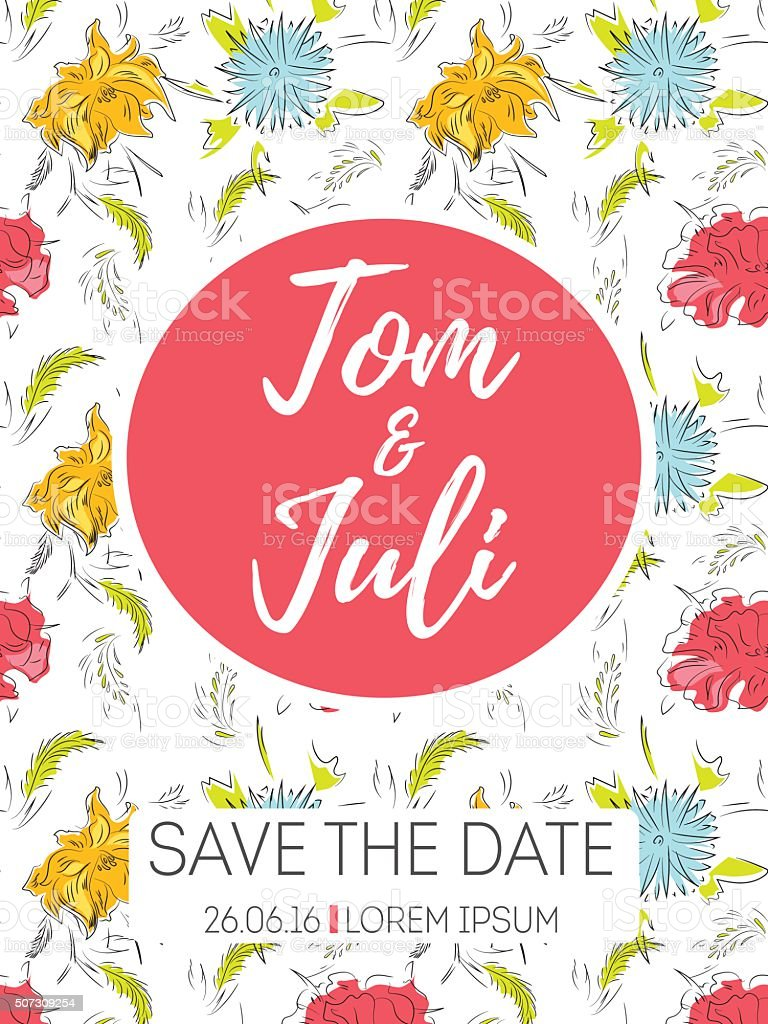 Save The Date Wedding Invitation Stock Vector Art & More Images of ...