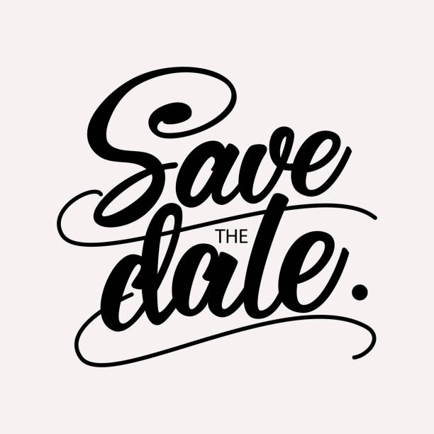 stockillustraties, clipart, cartoons en iconen met sla de datum-wedding belettering design. vector illustratie. - save the date
