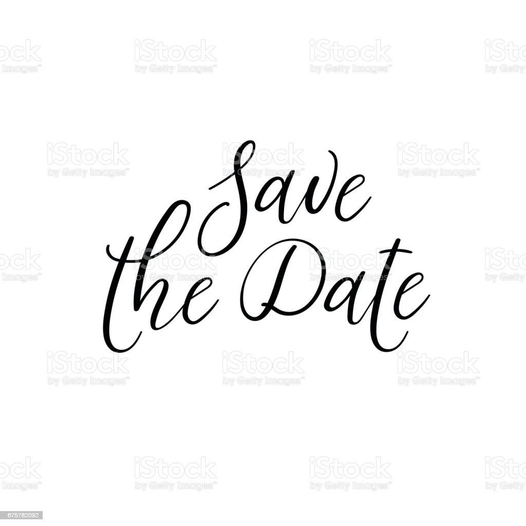 Save The Date Wedding Typography Templates Vector Handwritten ...