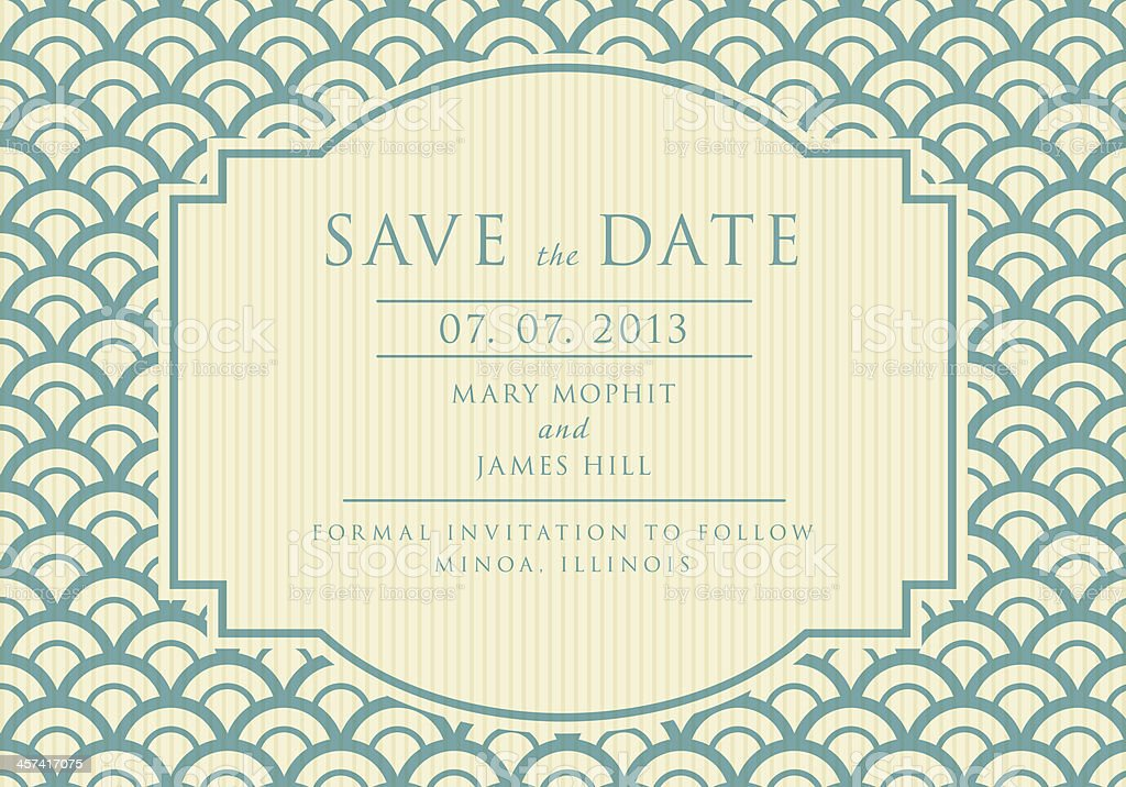 Save the Date with vintage background artwork in blue vector art illustration