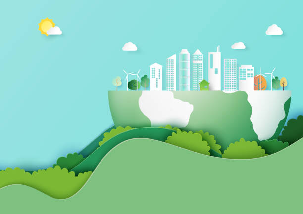 Save the earth and eco city concept paper art style vector art illustration