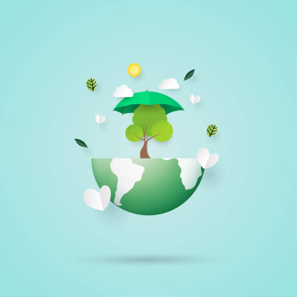 Save the earth and eco friendly concept paper art style vector art illustration