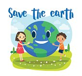 Save the earth ecology concept cartoon illustration