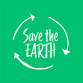 Earth day greeting card, poster, banner, social media post template. Hand drawn lettering badge, label, sticker.