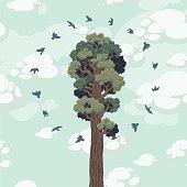 Save the forest. Hand drawn illustration. Ukraine