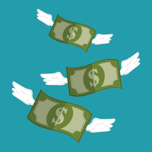 guardar los recibos de dinero con el diseño de las alas - ilustración de arte vectorial