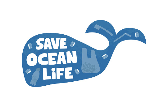 Save the ocean word concept banner. Stop water pollution vector illustration