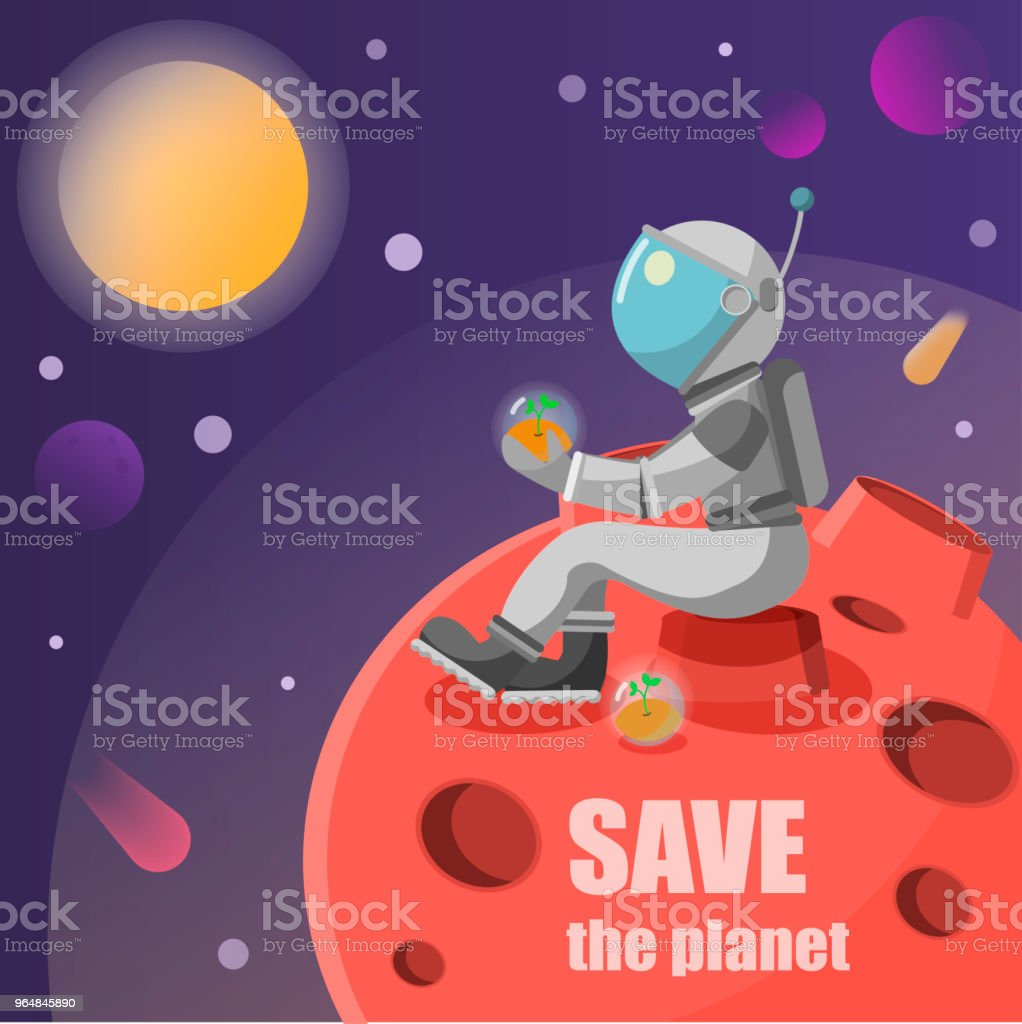 save the planet astronaut sitting on a rock on a planet hanging plant in a capsule vector illustration royalty-free save the planet astronaut sitting on a rock on a planet hanging plant in a capsule vector illustration stock vector art & more images of astronaut