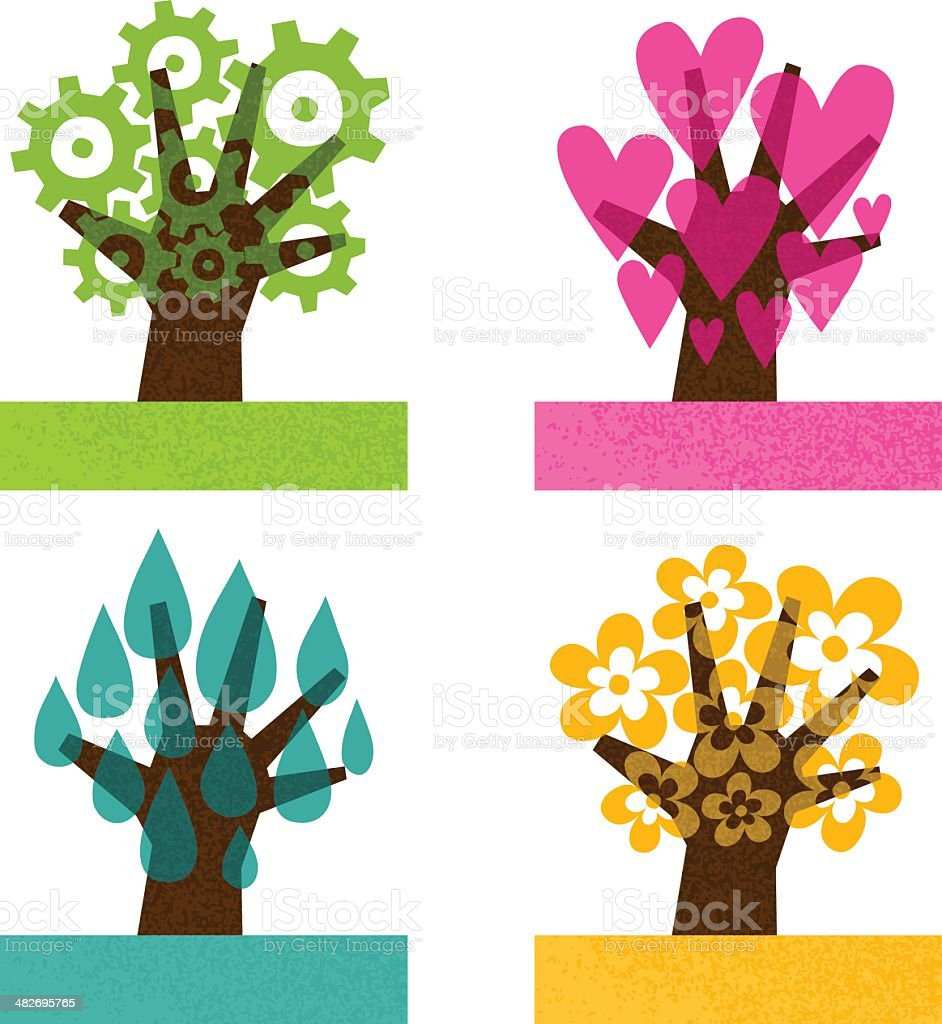 save the planet. concept trunk tree hands nature abstract. vector art illustration