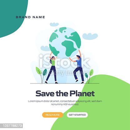 istock Save the Planet Concept Vector Illustration for Website Banner, Advertisement and Marketing Material, Online Advertising, Business Presentation etc. 1257788273