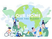 Group of different people in community standing together in front of world. Day of the Earth. Environment protection and ecology.