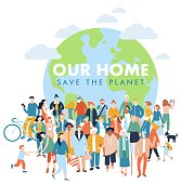 Crowd of different people in community standing together in front of world. Day of the Earth. Environment protection and ecology.