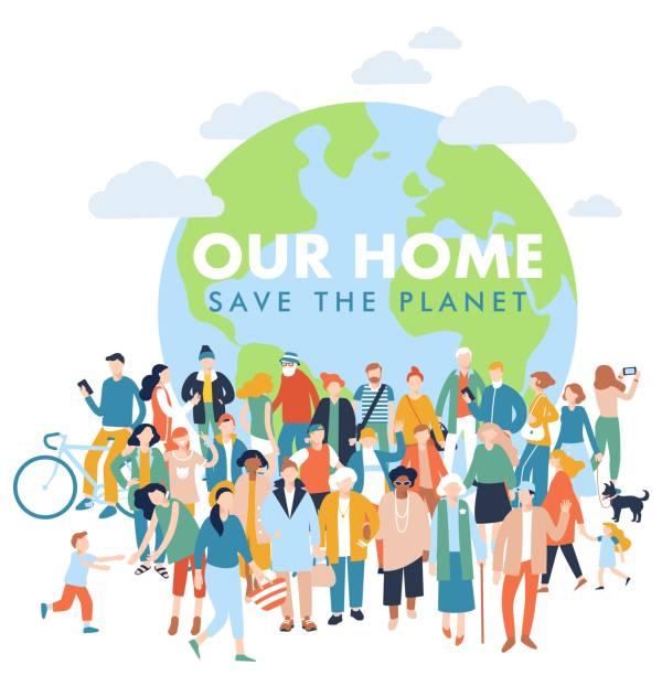ilustrações de stock, clip art, desenhos animados e ícones de save the planet concept with modern multicultural society. - green world