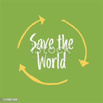 istock Save the planet hand drawn lettering. 1223881005